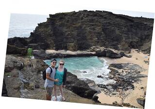 Paige and her partner at Halona Blowhole Lookout in Oahu, Hawaii